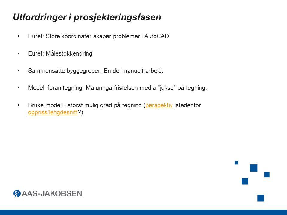 Utfordringer i prosjekteringsfasen Euref: Store koordinater skaper problemer i AutoCAD Euref: Målestokkendring Sammensatte byggegroper.