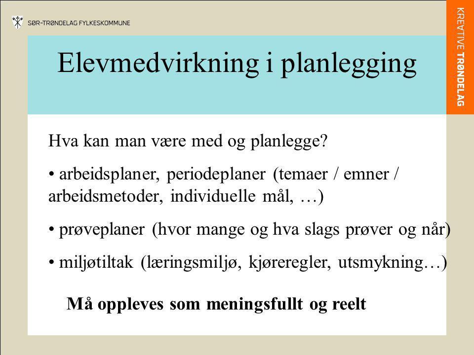 Elevmedvirkning i planlegging Hva kan man være med og planlegge? arbeidsplaner, periodeplaner (temaer / emner / arbeidsmetoder, individuelle mål, …) p
