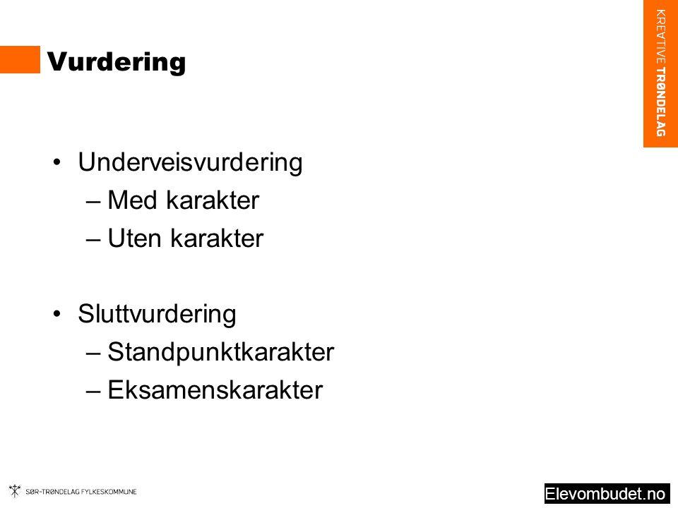 Vurdering Underveisvurdering –Med karakter –Uten karakter Sluttvurdering –Standpunktkarakter –Eksamenskarakter Elevombudet.no