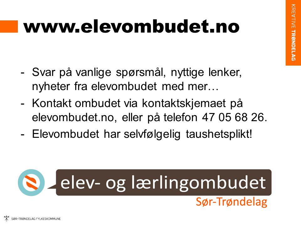 www.elevombudet.no -Svar på vanlige spørsmål, nyttige lenker, nyheter fra elevombudet med mer… -Kontakt ombudet via kontaktskjemaet på elevombudet.no, eller på telefon 47 05 68 26.