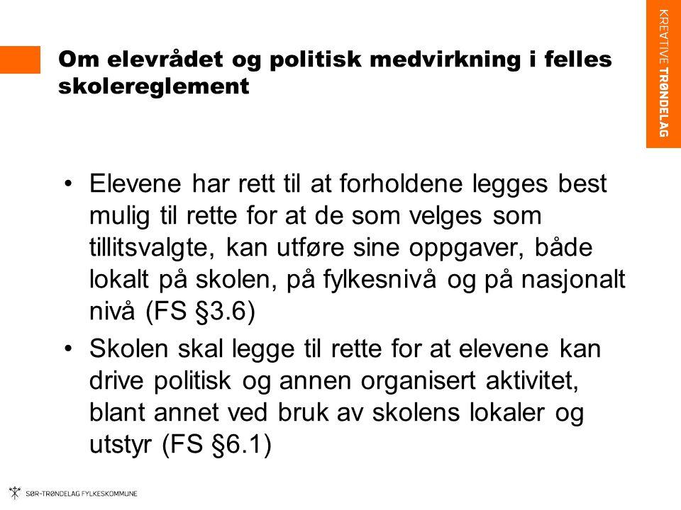 Elevundersøkelsen om fysisk innemiljø Over halvparten av elevene på vgs i Sør-Trøndelag er ikke fornøyd (bare litt fornøyd eller ikke særlig fornøyd) med: –Luften i klasserommene (56%, hvorav 36% ikke særlig fornøyd) –Temperaturen i klasserommene (59%, hvorav 35% ikke særlig fornøyd) Sør-Trøndelag er ganske likt landsgjennomsnittet på elevundersøkelsen, men skiller seg ut noe negativt i forhold til inneluft og temperatur.
