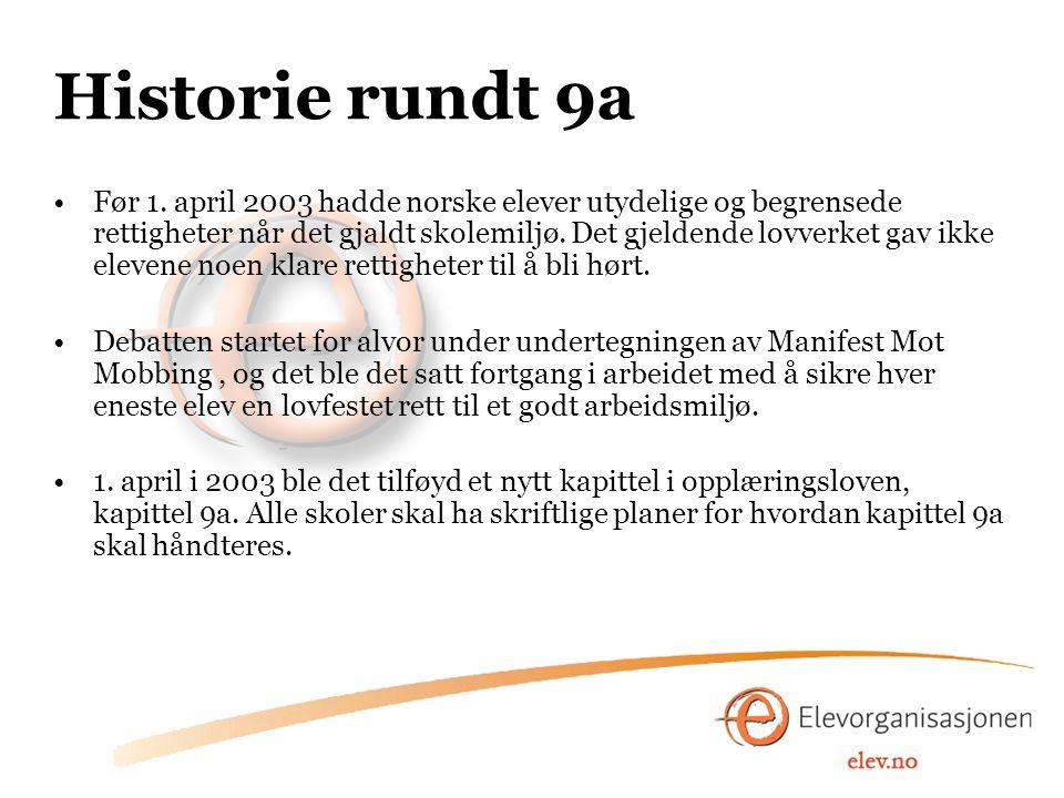 Historie rundt 9a Før 1. april 2003 hadde norske elever utydelige og begrensede rettigheter når det gjaldt skolemiljø. Det gjeldende lovverket gav ikk