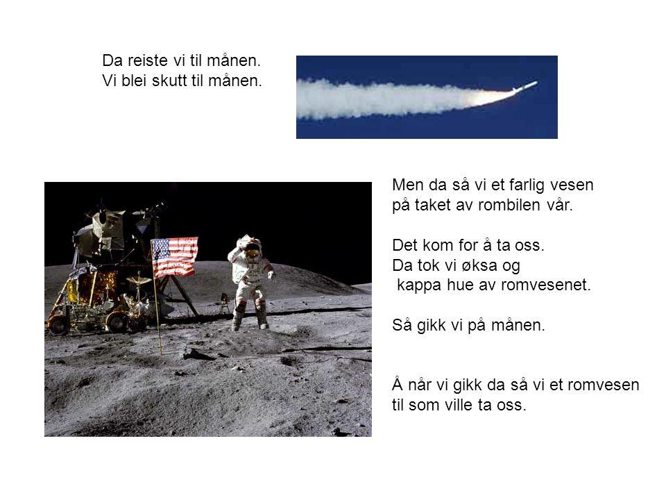Da reiste vi til månen. Vi blei skutt til månen.