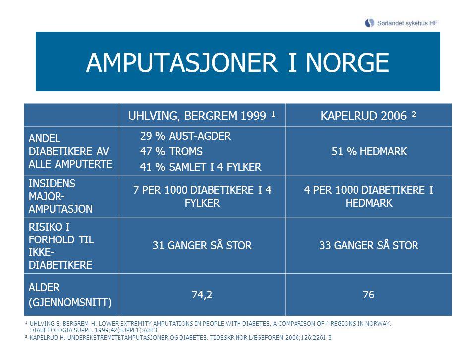AMPUTASJONER I NORGE UHLVING, BERGREM 1999 ¹KAPELRUD 2006 ² ANDEL DIABETIKERE AV ALLE AMPUTERTE 29 % AUST-AGDER 47 % TROMS 41 % SAMLET I 4 FYLKER 51 %