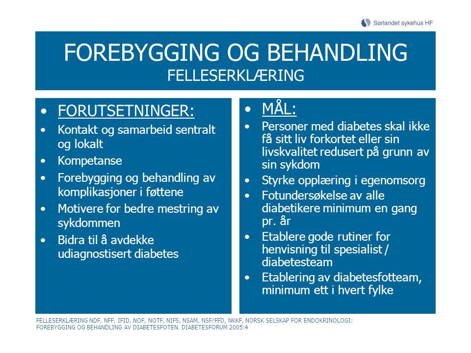 FOREBYGGING OG BEHANDLING FELLESERKLÆRING FORUTSETNINGER: Kontakt og samarbeid sentralt og lokalt Kompetanse Forebygging og behandling av komplikasjon