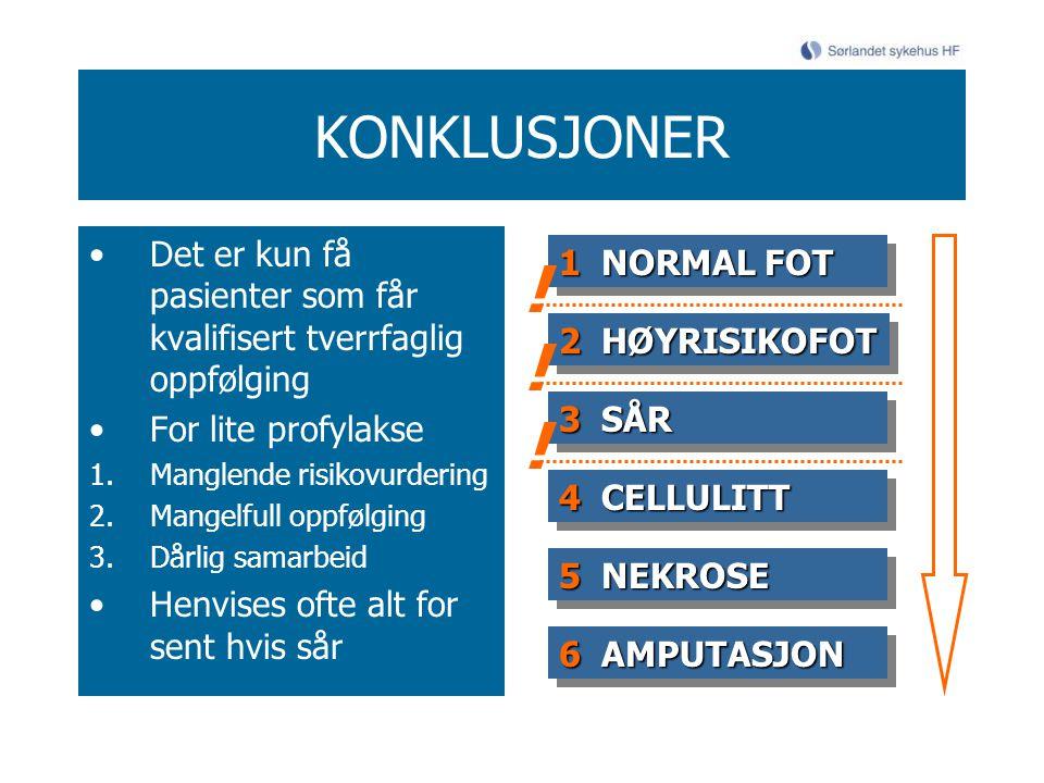 KONKLUSJONER Det er kun få pasienter som får kvalifisert tverrfaglig oppfølging For lite profylakse 1.Manglende risikovurdering 2.Mangelfull oppfølging 3.Dårlig samarbeid Henvises ofte alt for sent hvis sår 1 NORMAL FOT 2HØYRISIKOFOT 2 HØYRISIKOFOT 3SÅR 3 SÅR 4CELLULITT 4 CELLULITT 5NEKROSE 5 NEKROSE 6AMPUTASJON 6 AMPUTASJON .