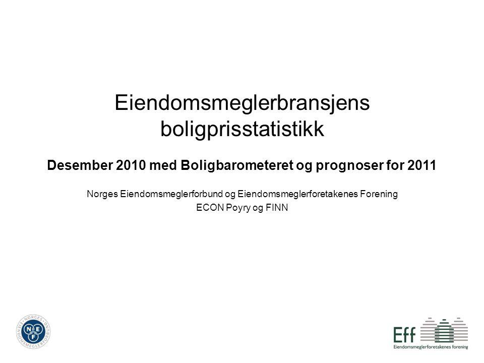 Eiendomsmeglerbransjens boligprisstatistikk Desember 2010 med Boligbarometeret og prognoser for 2011 Norges Eiendomsmeglerforbund og Eiendomsmeglerfor
