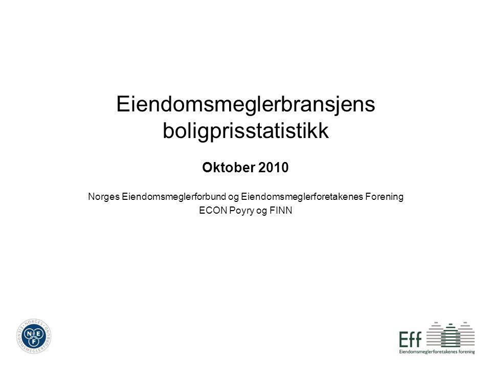 Eiendomsmeglerbransjens boligprisstatistikk Oktober 2010 Norges Eiendomsmeglerforbund og Eiendomsmeglerforetakenes Forening ECON Poyry og FINN