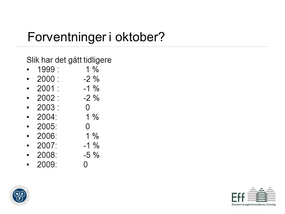 Forventninger i oktober? Slik har det gått tidligere 1999 : 1 % 2000 :-2 % 2001 :-1 % 2002 :-2 % 2003 : 0 2004: 1 % 2005: 0 2006: 1 % 2007:-1 % 2008:-