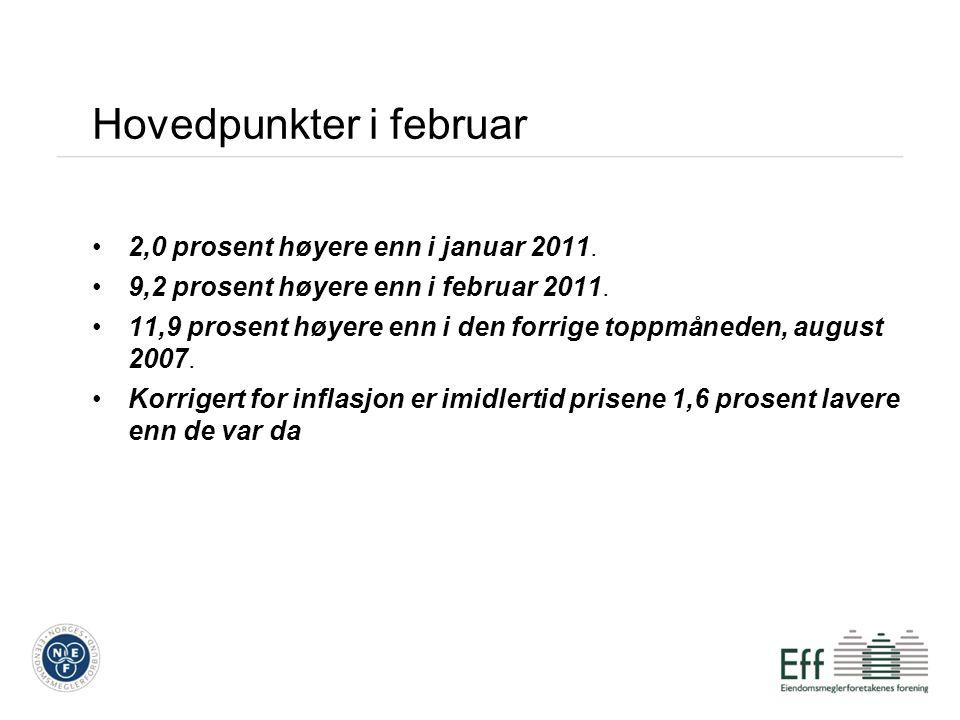 Hovedpunkter i februar 2,0 prosent høyere enn i januar 2011.