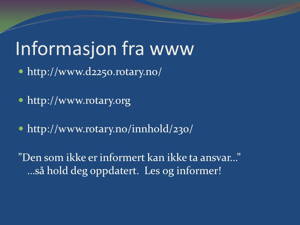 Informasjon fra www http://www.d2250.rotary.no/ http://www.rotary.org http://www.rotary.no/innhold/230/ Den som ikke er informert kan ikke ta ansvar… …så hold deg oppdatert.