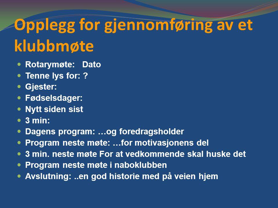 Opplegg for gjennomføring av et klubbmøte Rotarymøte: Dato Tenne lys for: .