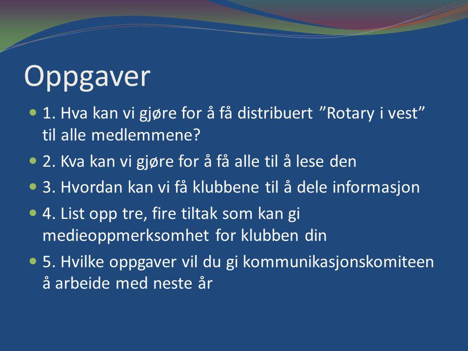 Oppgaver 1.Hva kan vi gjøre for å få distribuert Rotary i vest til alle medlemmene.