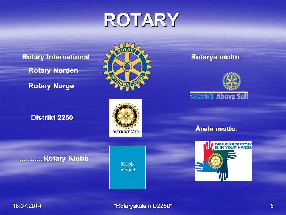 18.07.2014 Rotaryskolen i D2250 47  Å lære våre medmennesker å kjenne.