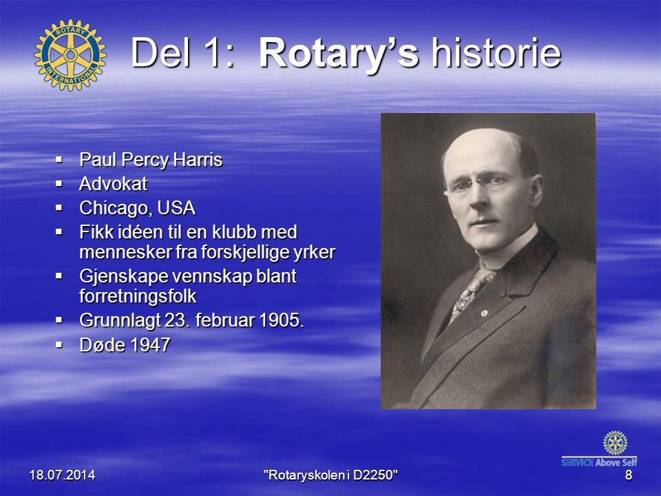 18.07.2014 Rotaryskolen i D2250 9 Utbredelsen av Rotary..startet i Midtvesten, i Chicago, Illinois, USA, og spredte seg raskt både innenfor USA og til andre land