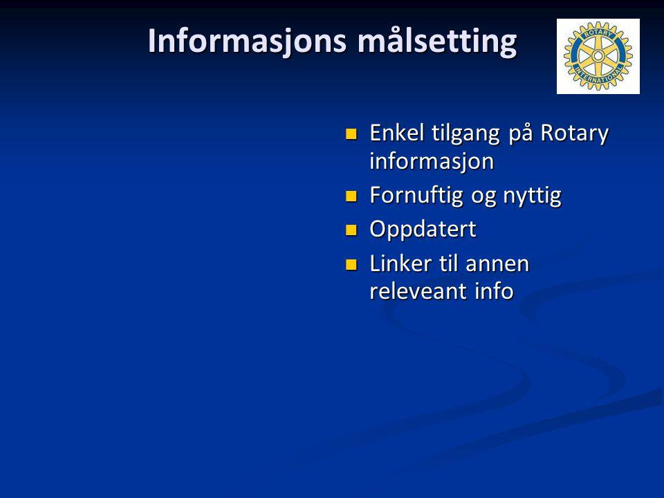 Informasjons målsetting Enkel tilgang på Rotary informasjon Fornuftig og nyttig Oppdatert Linker til annen releveant info