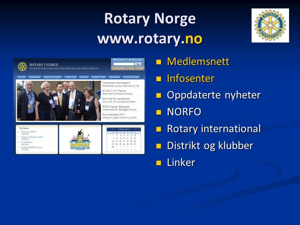 Rotary Norge www.rotary.no Medlemsnett Infosenter Oppdaterte nyheter NORFO Rotary international Distrikt og klubber Linker