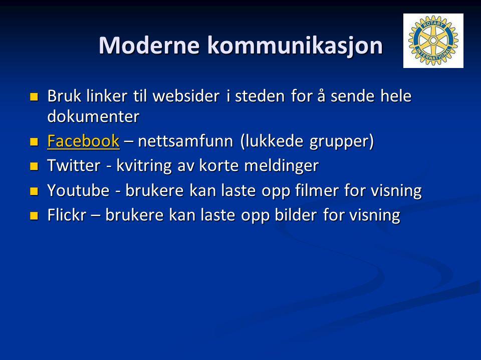 Moderne kommunikasjon Bruk linker til websider i steden for å sende hele dokumenter Bruk linker til websider i steden for å sende hele dokumenter Face