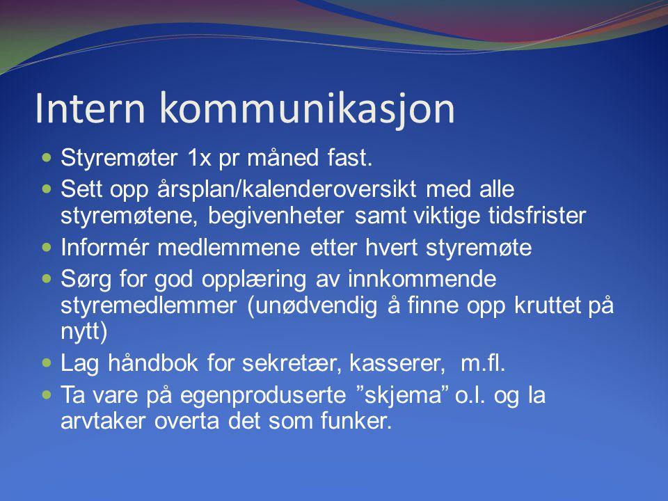 Intern kommunikasjon Styremøter 1x pr måned fast.