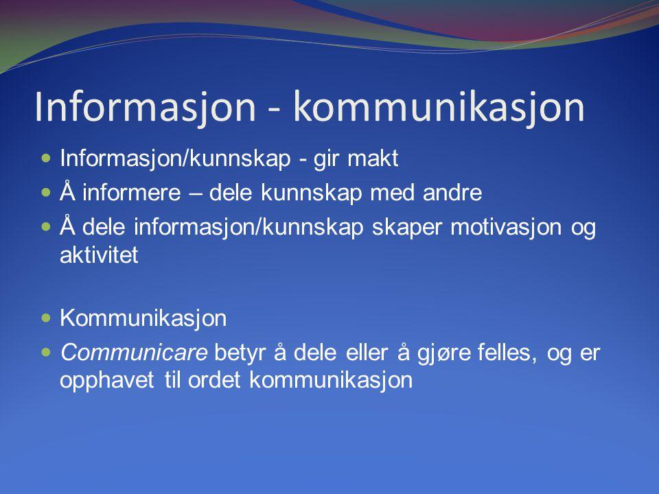 Informasjon - kommunikasjon Informasjon/kunnskap - gir makt Å informere – dele kunnskap med andre Å dele informasjon/kunnskap skaper motivasjon og aktivitet Kommunikasjon Communicare betyr å dele eller å gjøre felles, og er opphavet til ordet kommunikasjon