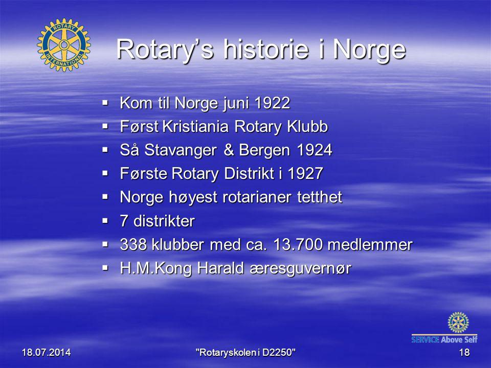 18.07.2014 Rotaryskolen i D2250 18 Rotary's historie i Norge  Kom til Norge juni 1922  Først Kristiania Rotary Klubb  Så Stavanger & Bergen 1924  Første Rotary Distrikt i 1927  Norge høyest rotarianer tetthet  7 distrikter  338 klubber med ca.