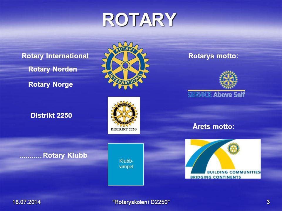 18.07.2014 Rotaryskolen i D2250 3 ROTARY Rotary InternationalRotarys motto: Distrikt 2250 Rotary Norge...........