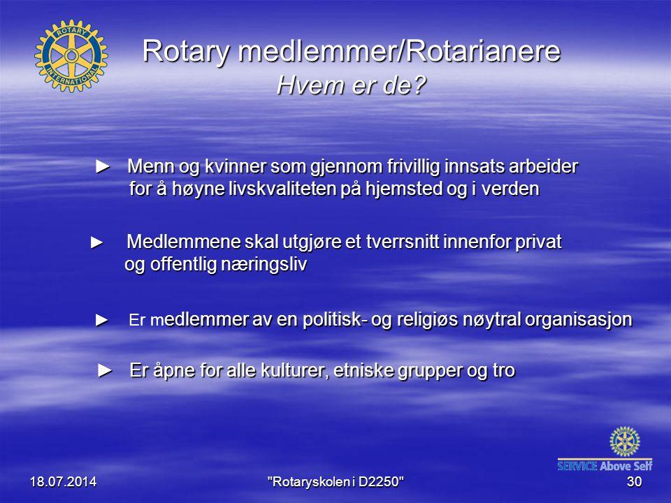 18.07.2014 Rotaryskolen i D2250 30 Rotary medlemmer/Rotarianere Hvem er de.