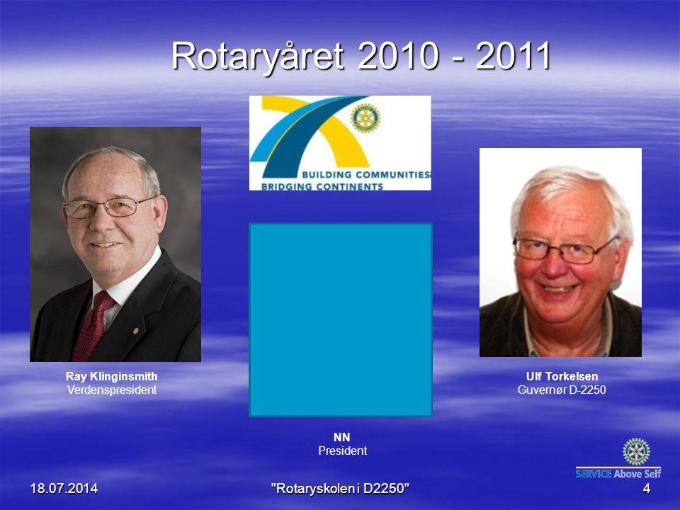 18.07.2014 Rotaryskolen i D2250 4 Rotaryåret 2010 - 2011 Ulf Torkelsen Guvernør D-2250 NN President Ray Klinginsmith Verdenspresident