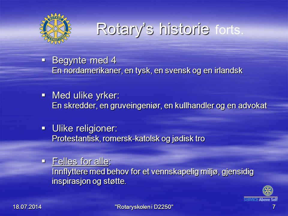 18.07.2014 Rotaryskolen i D2250 7 Rotary's historie Rotary's historie forts.