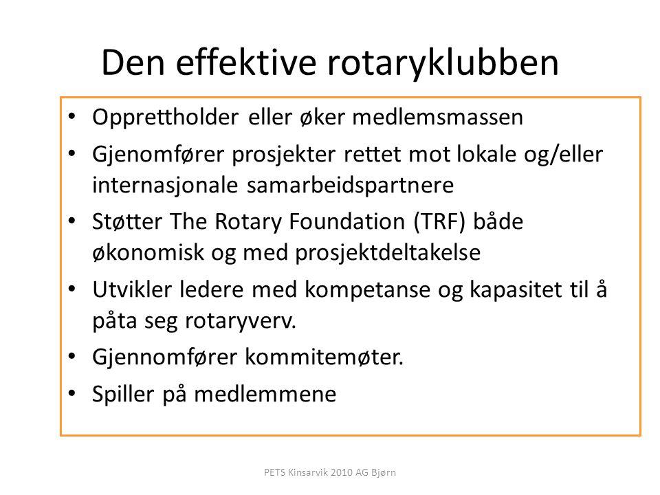 Den effektive rotaryklubben Opprettholder eller øker medlemsmassen Gjenomfører prosjekter rettet mot lokale og/eller internasjonale samarbeidspartnere