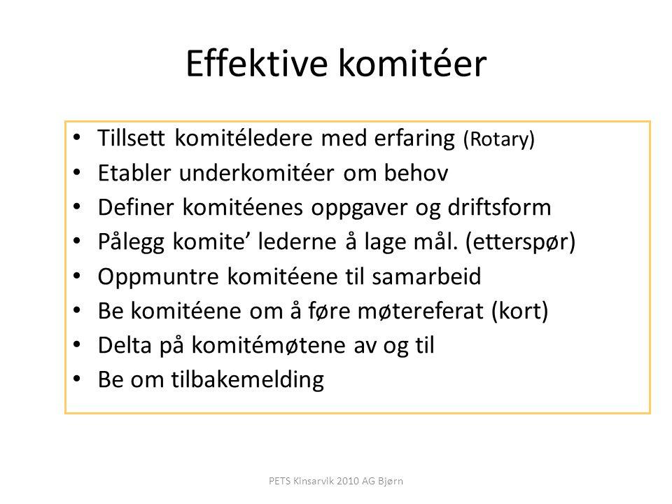Effektive komitéer Tillsett komitéledere med erfaring (Rotary) Etabler underkomitéer om behov Definer komitéenes oppgaver og driftsform Pålegg komite'