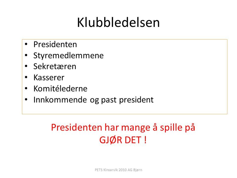 Spørsmål innkommende president bør stille Hva slags klubb vil dere overlevere til neste president.