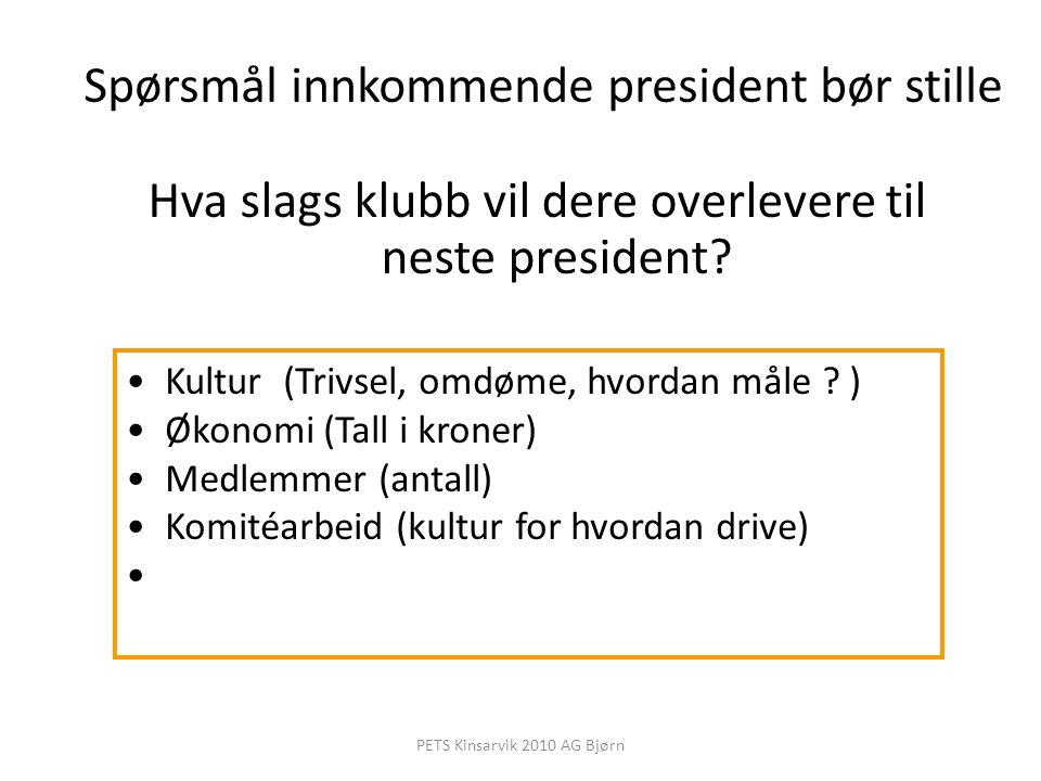 Spørsmål innkommende president bør stille Hva slags klubb vil dere overlevere til neste president? Kultur (Trivsel, omdøme, hvordan måle ? ) Økonomi (