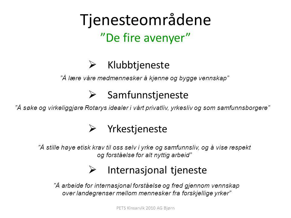 """Tjenesteområdene """"De fire avenyer""""  Klubbtjeneste  Samfunnstjeneste  Yrkestjeneste  Internasjonal tjeneste """"Å lære våre medmennesker å kjenne og b"""