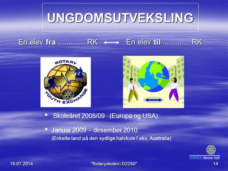 18.07.2014 Rotaryskolen i D2250 14 UNGDOMSUTVEKSLING En elev fra.............