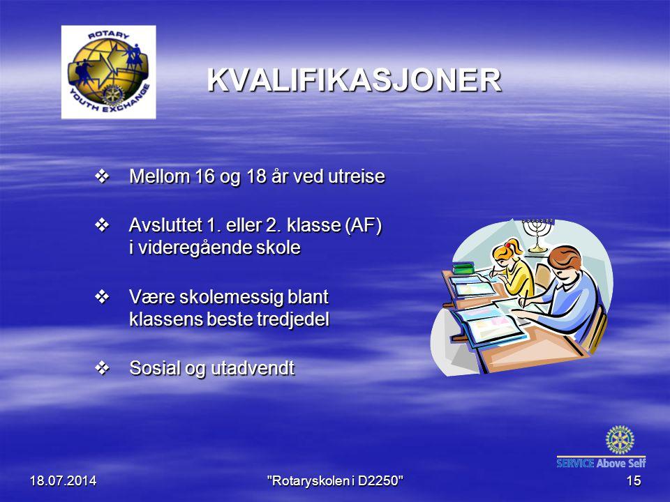 18.07.2014 Rotaryskolen i D2250 15 KVALIFIKASJONER  Mellom 16 og 18 år ved utreise  Avsluttet 1.
