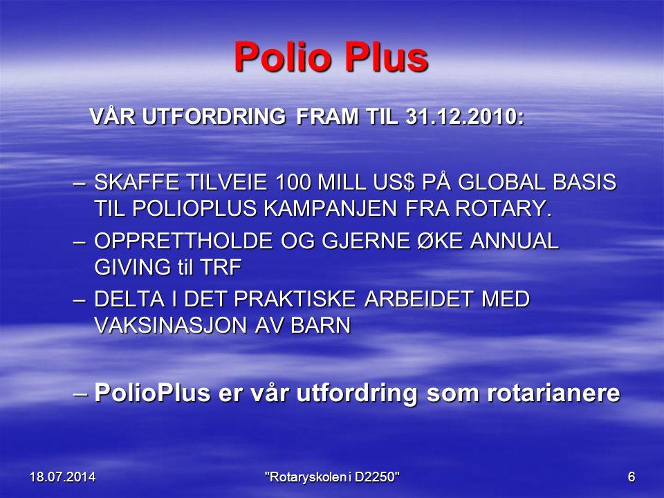 18.07.2014 Rotaryskolen i D2250 6 Polio Plus VÅR UTFORDRING FRAM TIL 31.12.2010: VÅR UTFORDRING FRAM TIL 31.12.2010: –SKAFFE TILVEIE 100 MILL US$ PÅ GLOBAL BASIS TIL POLIOPLUS KAMPANJEN FRA ROTARY.