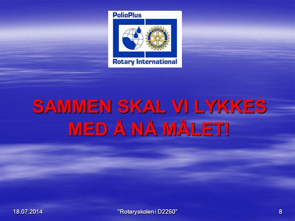 18.07.2014 Rotaryskolen i D2250 8 SAMMEN SKAL VI LYKKES MED Å NÅ MÅLET.