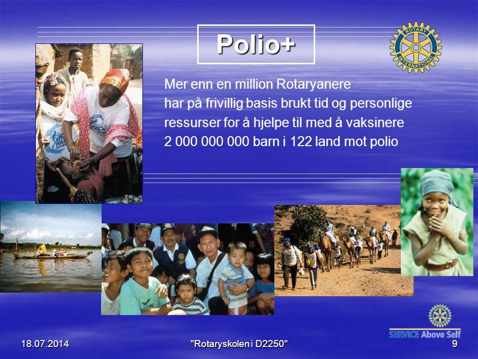 18.07.2014 Rotaryskolen i D2250 9 Mer enn en million Rotaryanere har på frivillig basis brukt tid og personlige ressurser for å hjelpe til med å vaksinere 2 000 000 000 barn i 122 land mot polio Polio+
