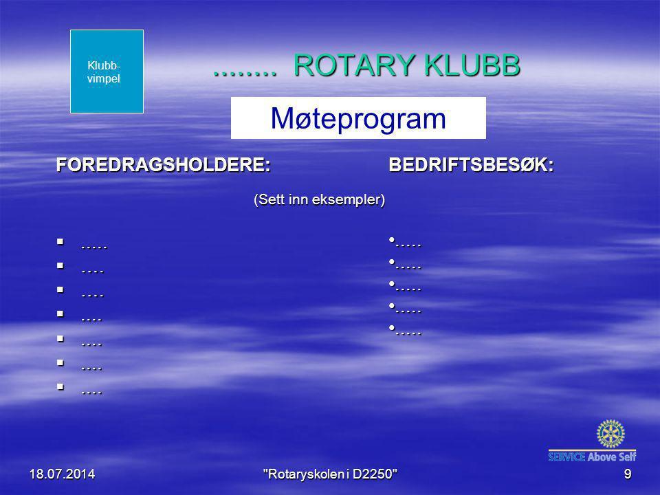 18.07.2014 Rotaryskolen i D2250 9........ ROTARY KLUBB FOREDRAGSHOLDERE: .....
