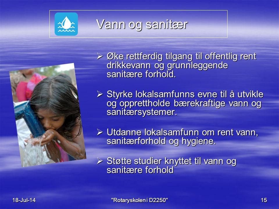 Vann og sanitær Vann og sanitær  Øke rettferdig tilgang til offentlig rent drikkevann og grunnleggende sanitære forhold.