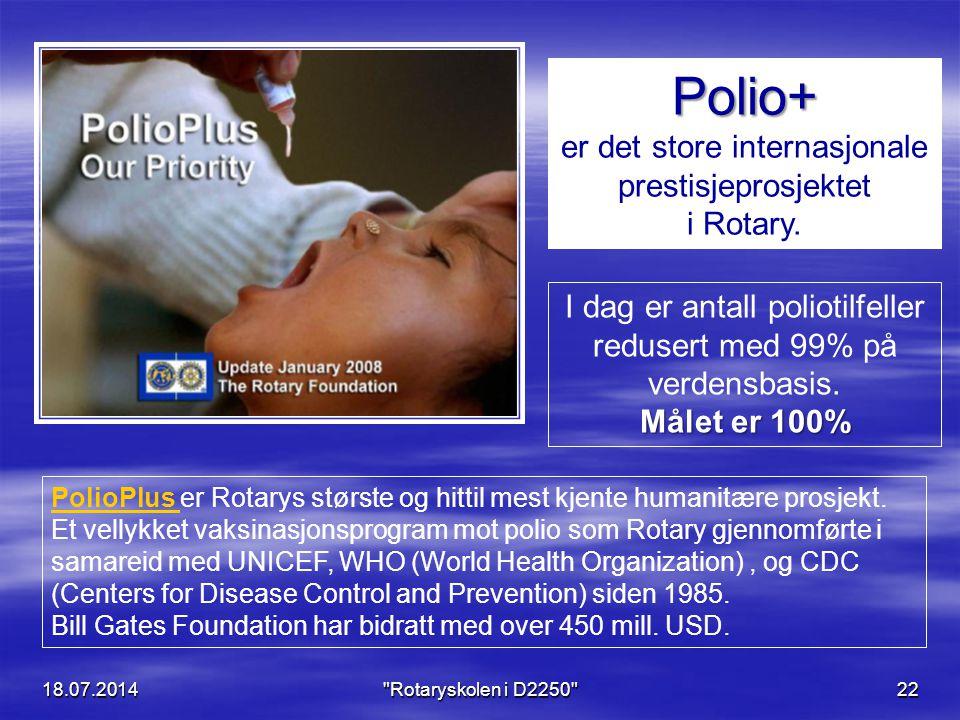 18.07.2014 Rotaryskolen i D2250 22 Polio+ er det store internasjonale prestisjeprosjektet i Rotary.