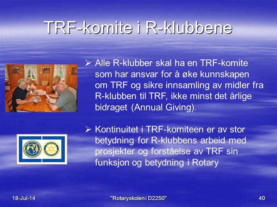 TRF-komite i R-klubbene 18-Jul-14 Rotaryskolen i D2250 40  Alle R-klubber skal ha en TRF-komite som har ansvar for å øke kunnskapen om TRF og sikre innsamling av midler fra R-klubben til TRF, ikke minst det årlige bidraget (Annual Giving).