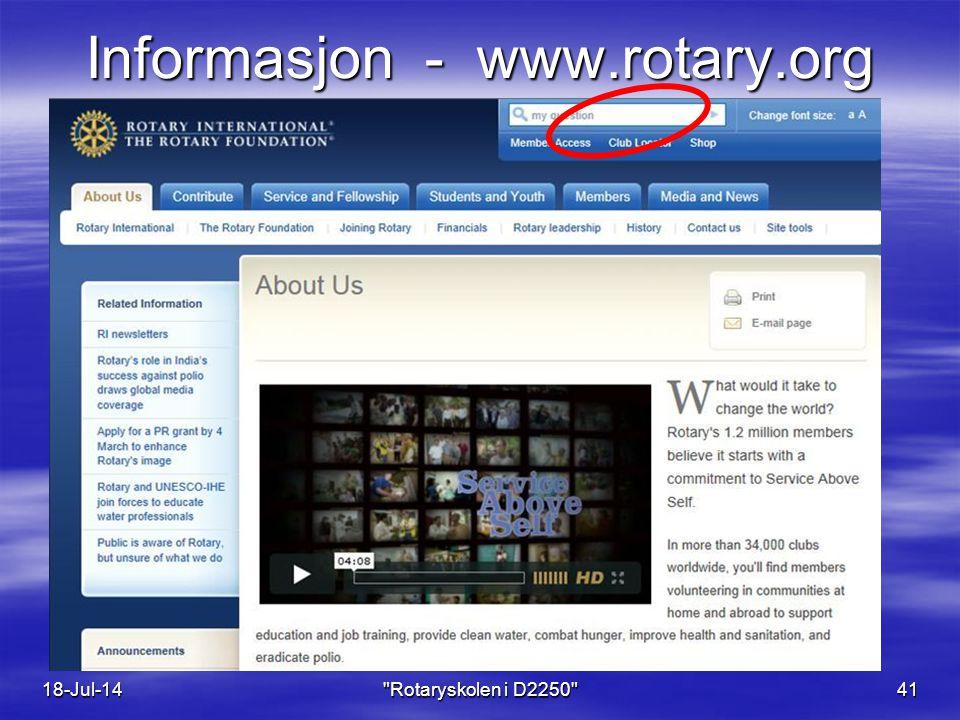 Informasjon - www.rotary.org 18-Jul-14 Rotaryskolen i D2250 41