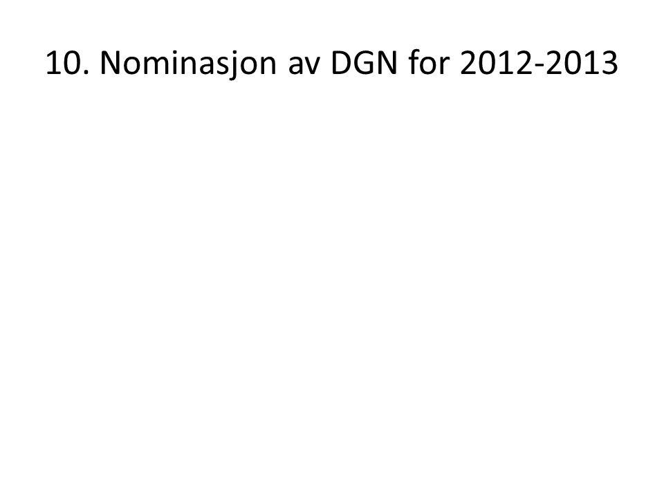 10. Nominasjon av DGN for 2012-2013