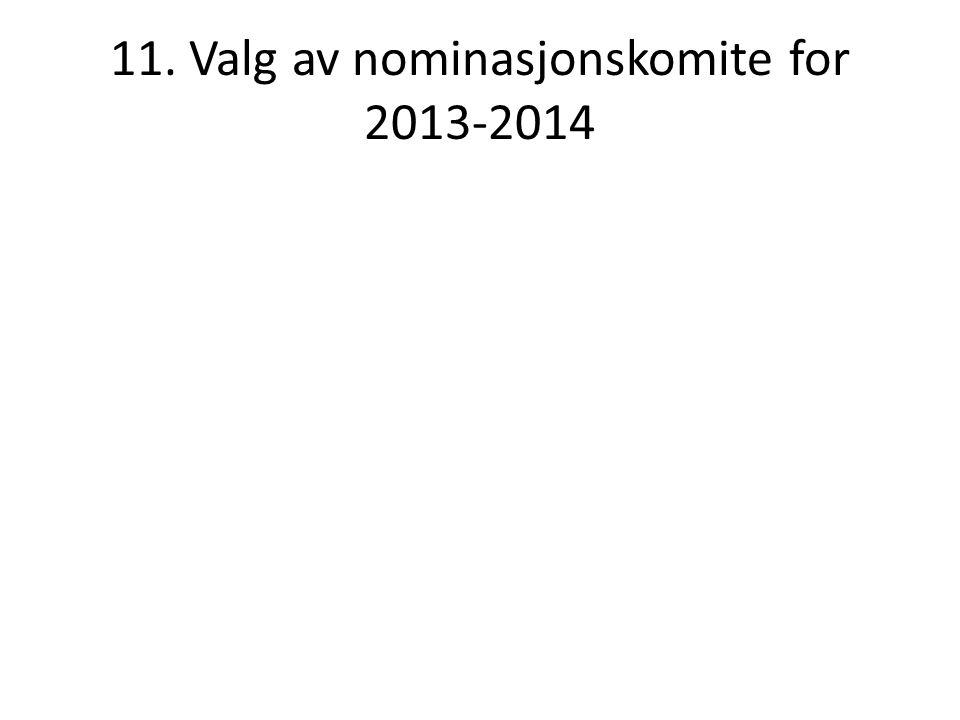 11. Valg av nominasjonskomite for 2013-2014