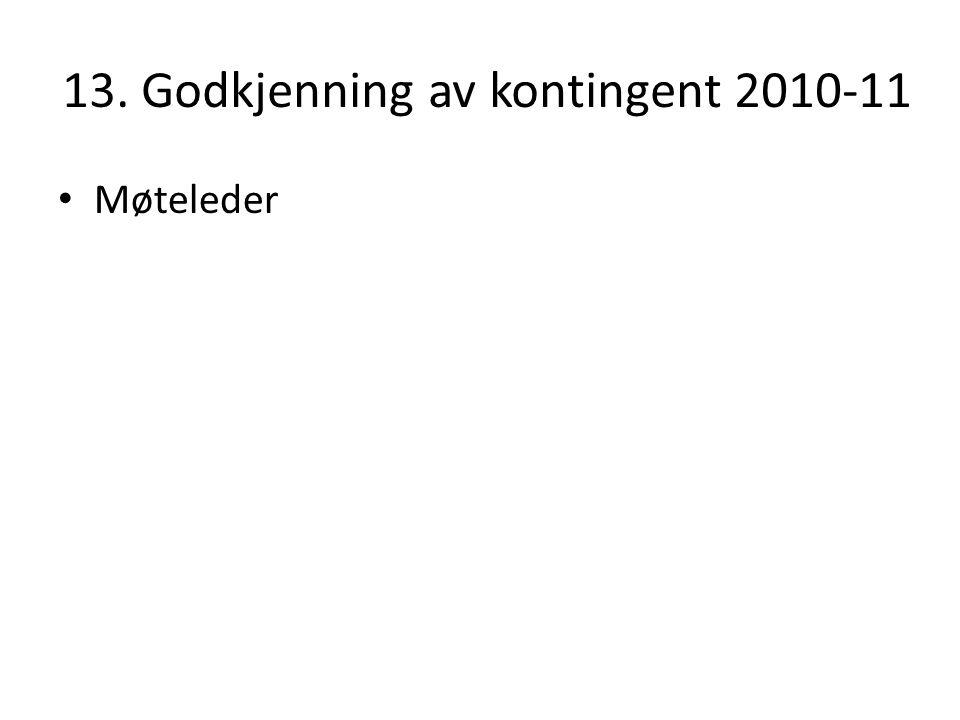 13. Godkjenning av kontingent 2010-11 Møteleder