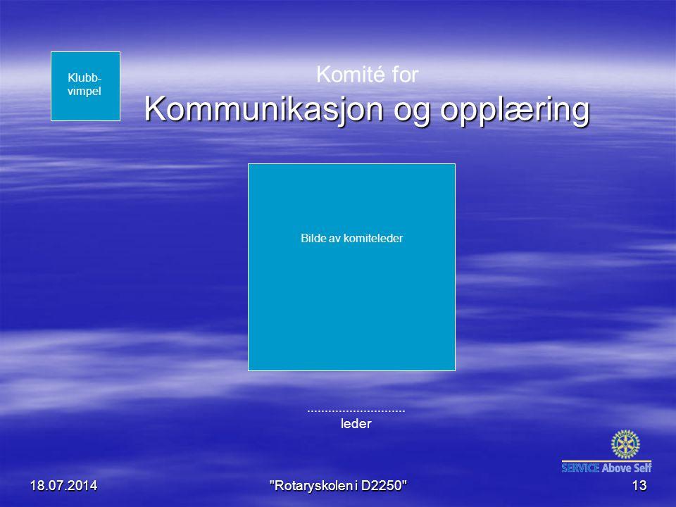 18.07.2014 Rotaryskolen i D2250 13 Kommunikasjon og opplæring Komité for Kommunikasjon og opplæring............................