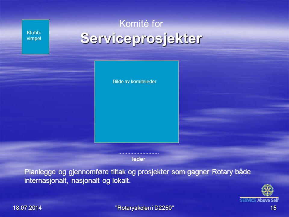 18.07.2014 Rotaryskolen i D2250 15 Serviceprosjekter Komité for Serviceprosjekter...........................