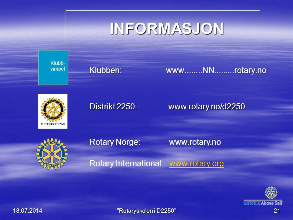 INFORMASJON INFORMASJON Klubben: www........NN.........rotary.no 18.07.2014